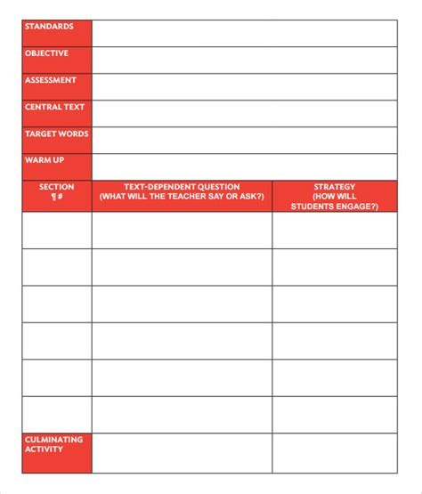 sample guided reading lesson plans sample templates
