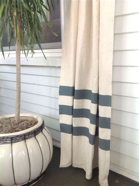 budget friendly blue and white striped curtains
