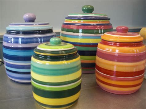 colorful kitchen canisters sets 4 piece striped kitchen canister set