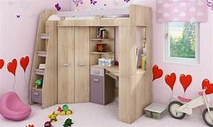 Lit Enfant Combiné : lit en hauteur combin avec bureau armoire et rangement intgr ~ Farleysfitness.com Idées de Décoration