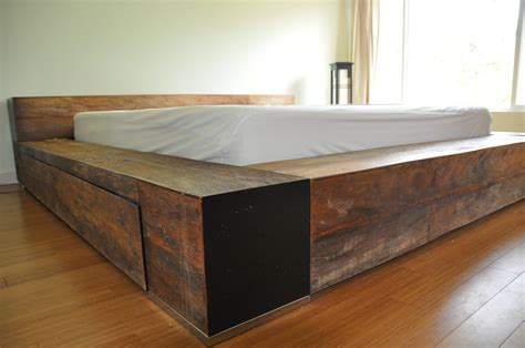 Brown Wooden Bed Frames With Hidden Storage And Black