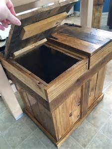kitchen island with garbage bin diy pallet rustic trash or recycle bin 101 pallets