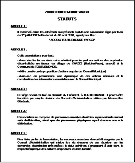 modification bureau association loi 1901 modification d une association exemple statuts association