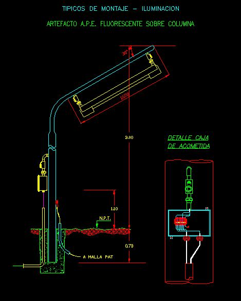 fluorescent street light  column mount dwg block