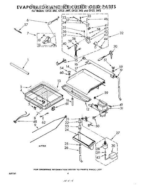 parts  whirlpool cfcsae evaporator  ice cutter grid parts appliancepartsproscom