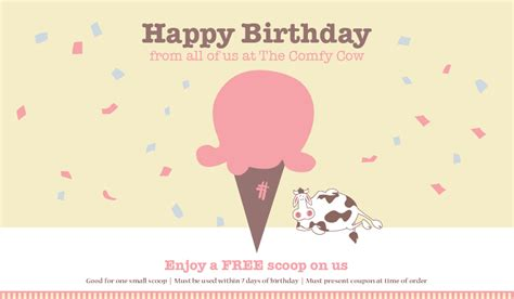 birthday coupon birthday coupon the comfy cow