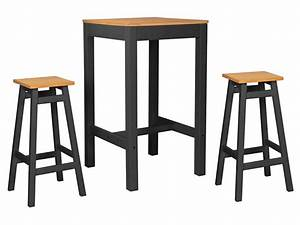 Ensemble Table De Bar 2 Tabourets JOY Coloris Anthracite