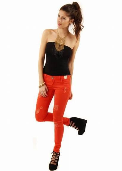 Jeans Orange Skinny Distressed Designer Parisian