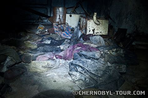Radioactive basement of hospital 126. Pripyat two years after the Chernobyl disaster - disposal ...