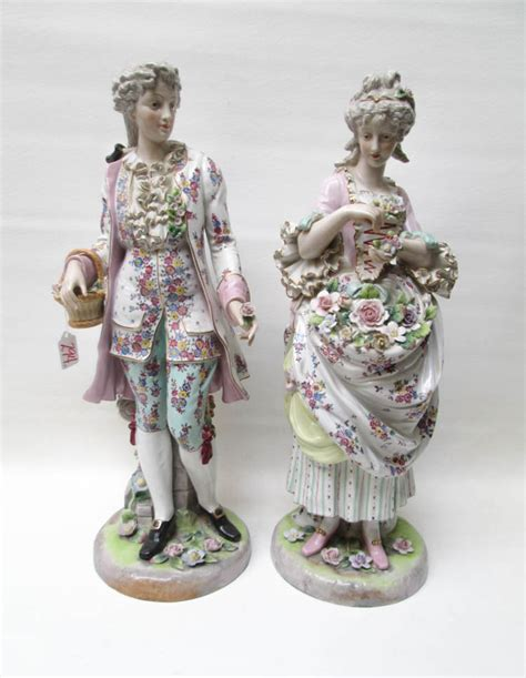 two large meissen inspired porcelain figurines dep