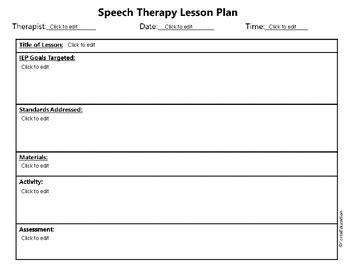 Speech Therapy General Lesson Plan Template By Forza