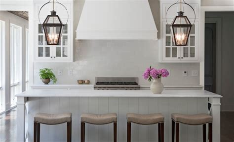Carriage Lanterns over Kitchen Island   Transitional