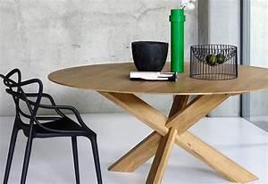 Table Bois Massif Contemporaine : table ronde contemporaine avec rallonge ~ Teatrodelosmanantiales.com Idées de Décoration