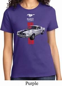 Ladies Ford Shirt Red Stripe Mustang 50 Years Tee T-Shirt - Red Stripe Mustang 50 Years Ladies ...