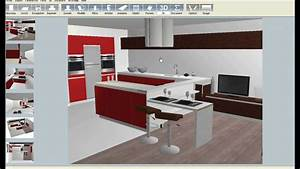 logiciel de cuisine 3d youtube With amenagement cuisine en i