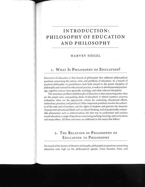 introduction philosophy  education  philosophy