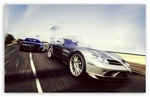 Mercedes Benz SLR vs Audi R8 4K HD Desktop Wallpaper for
