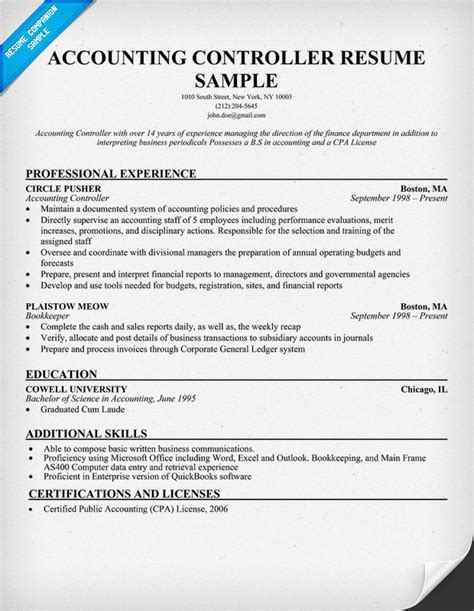 Financial Controller Resume Exles by Accounting Controller Resume Resumecompanion Resume Sles Across All Industries