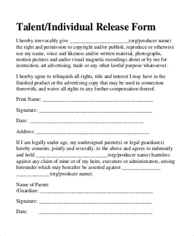 free talent release form 9 sle talent release forms sle templates