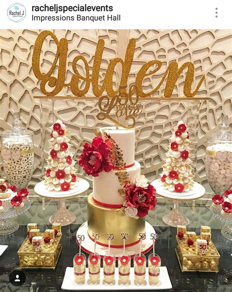 Here are some recommended birthday pudding ideas: Golden 50th Birthday Party Dessert Table and Decor | Birthday party table decorations, Birthday ...