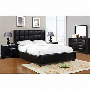 Poundex 3 piece faux leather queen size bedroom set in for Queen size bedroom set