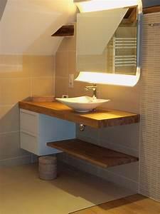 salle de bain plan de travail bois epais sur mesure With plan de travail bois salle de bain