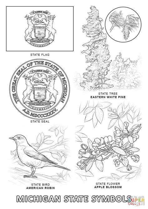 Michigan State Symbols | Super Coloring | Flag coloring pages, Coloring pages, Coloring pages