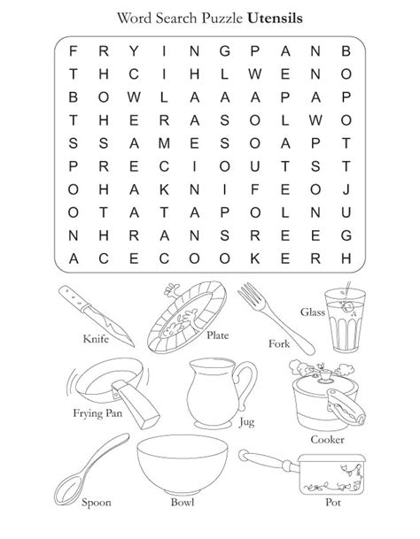 images  worksheets kitchen utensils printables