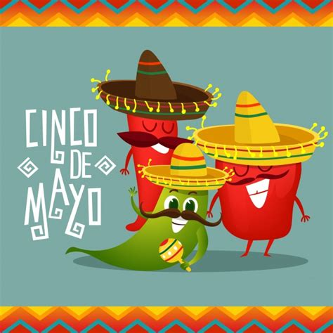 cinco de mayo background cinco de mayo background with pepper characters vector