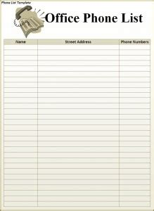 phonebook template phone list template word excel formats