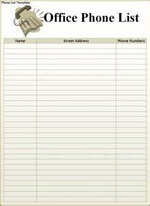 phone list template word excel formats With telephone extension template
