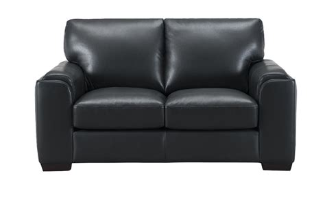 Loveseat Black by Suzanne Top Grain Black Leather Loveseat