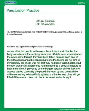 punctuation practice grammar worksheet  grade jumpstart