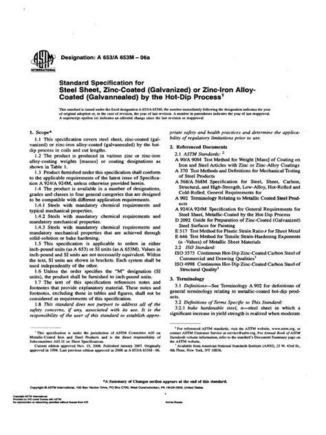 Astm a653-06a - Sgcc Standard   Steel   Strength Of Materials
