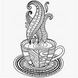 Coffee Coloring Cup Pages Mug Tea Adult Drawing Getcolorings Printable Cups Print Adults Zentangle Uploaded User sketch template