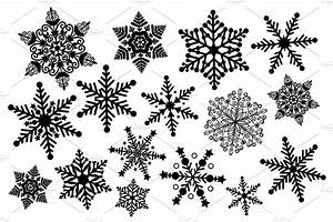 Black and White Snowflake Clipart ~ Illustrations ...