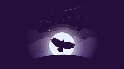 Purple Eagle Moon Minimal 4k Wallpapers