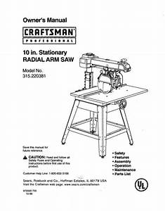 Craftsman 315 220381 Radial Arm Saw Manual