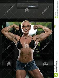 Female Bodybuilder Flexing Muscles Stock Photo - Image ...