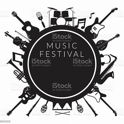 Silhouette Instruments Background Vector Label Musical Instrument