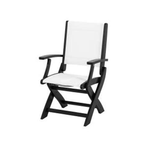 polywood coastal black patio folding chair with white