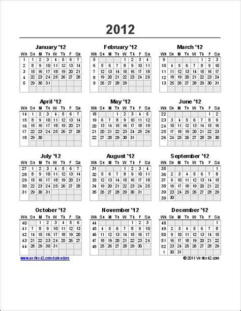 yearly calendar week numbers vertexcom