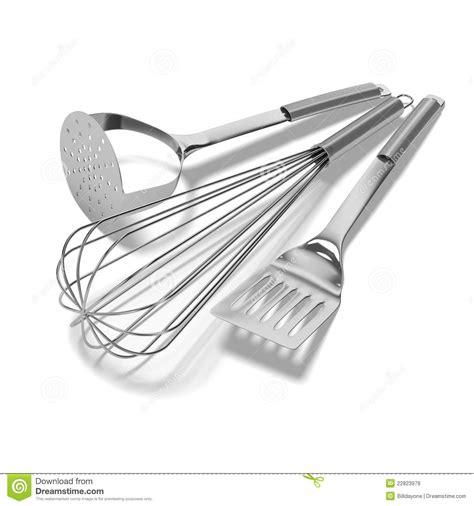 fond blanc cuisine ustensiles de cuisine de chrome sur le fond blanc images libres de droits image 22823979