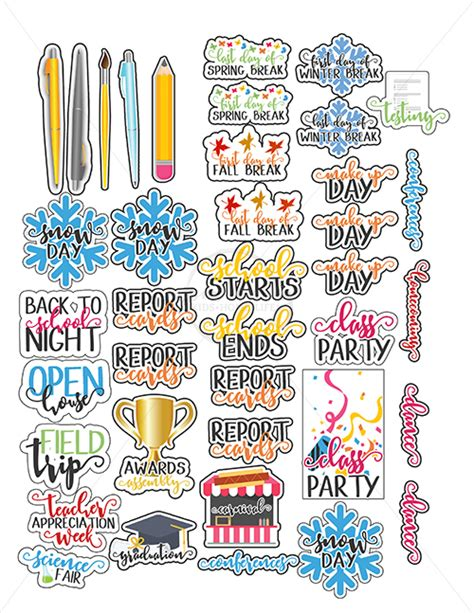 school planner stickers perfect  calendars