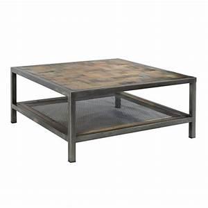 Table Basse Fer Et Bois : tr s tendance table basse industrielle atelier carr e 2 plateaux fer et bois recycl ~ Teatrodelosmanantiales.com Idées de Décoration