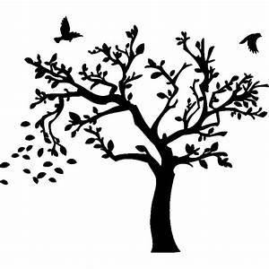 Stickers Arbre Noir : sticker arbre d 39 automne et ses oiseaux stickers nature arbres ambiance sticker ~ Teatrodelosmanantiales.com Idées de Décoration