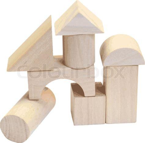 wooden building blocks   white background stock