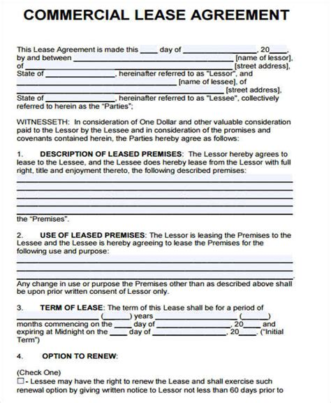 lease agreement formats templates word  pages