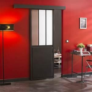 ensemble porte coulissante atelier verre clair mdf revetu With porte d entrée alu avec salle de bain chene