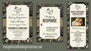 Camo Wedding Invitations - Vintage Rustic Wedding Invitations